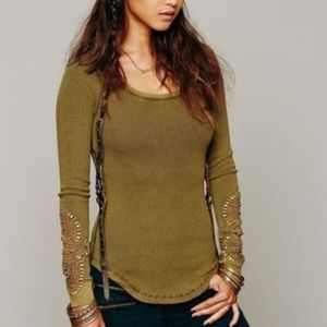 We The Free Waffle Knit Distressed Thermal